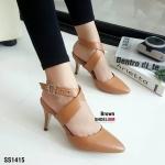 """รองเท้าคัทชูส้นสูง สวยปราดเปรียว ดีไซน์สายไขว้คาดหน้าเท้า รัดข้อปรับสายไ้ด้ งานคุณภาพ ทั้งหนังนิ่ม ส้นสวย ใส่สวยจริง แมทเก๋ได้ทุกชุด สูง 3"""" สีดำ ครีม น้ำตาล"""