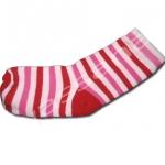 ถุงเท้า สีชมพู-แดง ลายขวาง 12CM