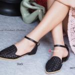 รองเท้าคัทชู ส้นแบน รัดส้น Lazy Ankle Flat สวยหรู ดูดี มีสไตล์ หนังฉลุลาย สวยงามผสมผสานงานแฟชั่นนำสมัย (เปิดข้างแบบงานเดอออเซ่) หวานแบบสาว วินเทจ เพิ่มความกระชับเท้าด้วยสายรัดข้อหลัง แมทง่ายสวยได้กับทุกชุด สีครีม ดำ เทา เขียว (BB7598)
