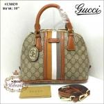 กระเป๋า Gucci 10 นิ้ว ทรง Alma สวยหรู หนังลายกุชชี่คาดแถบสี ปากกระเป๋าซิป ด้านในบุอย่างดี พร้อมสายยาวถอดได้การ์ดและ ถุงผ้า