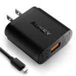 Aukey USB Wall Charger and Quick Charge 3.0 (1 port) ฟรีสายชาร์จ Aukey Micro USB