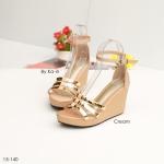 รองเท้าแฟชั่น แบบสวมรัดข้อ ส้นเตารีดแต่ง แต่งแถบทองเรียบหรู ส้นสูง 3.5 นิ้ว น้ำหนักเบา พื้นบุนุ่ม ใส่สบายแมทได้สวยทุกชุด