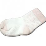 ถุงเท้า สีขาว-ชมพู ลายหัวใจ 9CM
