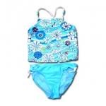 ชุดว่ายน้ำ สีฟ้า-ขาว ลายดอกไม้ 12T