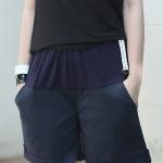 กางเกงคลุมท้อง ปรับระดับ ขาสั้น สีกรมท่า