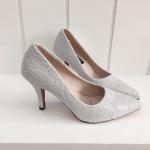รองเท้าคัทชู ส้นสูง แบบเรียบหรู หัวแหลมแต่งลูกไม้สวย ใส่สวย ใส่สบาย แมทได้หรูทุกชุด สูง 3 นิ้ว