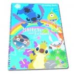 สมุดวาดเขียนสันห่วงใหญ่ สีฟ้า ลาย Stitch and Friends