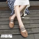 รองเท้าคัทชูส้นแบน สไตล์เกาหลี งานนำเข้า ใส่สบายด้วยหน้งนิ่มๆ สัมผัสสบาย ดีไซน์เก๋ด้วย เชือกกลมด้านหน้าไขว่ แนววินเทจเก๋ไก๋ สุดๆ