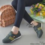รองเท้าผ้าใบ แบบไร้เชือก สไตล์ sport girl ดีไซน์สวยเท่ห์เก๋ วัสดุผ้าใบหนัง กลับนิ่ม ดีเทลด้านข้างปักตัว H ด้ายสีตัดสุดเก๋ ด้านหน้าเป็นแบบเมจิกเทปใส่ ง่าย น้ำหนักเบาใส่สบาย แมทเก๋ได้ทุกชุด สูง 2 เซน สีกากี น้ำตาล