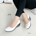รองเท้าคัทชู ทรงสุภาพคลาสสิก หน้าเรียวสวย ส้นเตารี ใส่สบาย ดูเท้า เรียวยาว พื้นกันลื่น แมทได้ทุกชุด สีดำ ครีม กรม สูง 2 นิ้ว