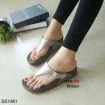"""รองเท้าแตะ พื้นคอมฟอต เพื่อสุขภาพ แบบหนีบ งานสไตล์ฟิทฟลอบ แต่งเข็มขัดหน้า หนังสีเมทาลิคสุดเก๋ แบบนิ่มพิเศษ ทั้งส้นและหน้าเท้า สูง 2"""""""