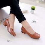 """รองเท้าคัทชู ทรงหน้าตัดสวยเรียบหรู ส้นเหลี่ยม หนัง PU ดูดีดูแพง ตัดเย็บดีงาม มาก ใส่สบาย ไม่กดนิ้วเท้า สูง 1.5"""" สีดำ แทน"""