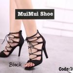 รองเท้าส้นสูง สวยปราดเปรียว หนังสวย ดีไซส์ผูกเชือกไขว้สุดเก๋ ซิปหลังใส่ง่าย สูง 4 นิ้ว สวยเป๊ะ สีดำ น้ำตาล