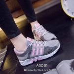 รองเท้าผ้าใบ แนว SPORT งานนำเข้า ดีไซน์สวยสะดุดตา ใส่นุ่มสบายเท้า ใส่ออก กำลังกายได้หรือจะใส่เที่ยวก็เท่ห์สุดๆ พื้นหนา 1 นิ้ว สีเทา ดำ