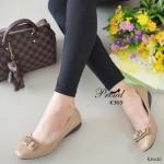 รองเท้าคัทชู สไตล์สาวรักสุขภาพ วัสดุหนังพียูเนื้อนิ่ม พิมพ์ลายสวย ขอบเก็บงาน รอบไม่กัดเท้า ดีเทลแต่งอะไหล่โบว์ ส้นพียูพื้นเตี้ย น้ำหนักเบา เก็บหน้าเท้า พื้นบุ นวมนุ่ม งานเรียบร้อย แมทง่ายทุกชุด สูง 1 นิ้ว สีกากี