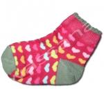 ถุงเท้า สีชมพู-น้ำตาล ลายหัวใจ 12CM