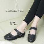 รองเท้าคัทชู สีดำ แนวน่ารักแบบสาวญี่ปุ่น เปิดส้น ด้านหน้าคาดด้วยสาย คาดแบบเมจิกเทป สไตล์งาน Mary Janes พืนยางอ่อนนุ่มรับกับน้ำหนัก และสรีระเท้า นับเป็นคัชชูสไตล์ลำลองดีไซน์เก๋ๆ ที่สามารถนำไปแมทได้ กับทุกการแต่งตัว (C399)