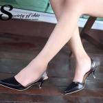 รองเท้าคัทชู ส้นเตี้ย หัวแหลม หนังนิ่ม สไตล์ ZARA สวยชนช็อป พื้นนิ่ม สูง 2 นิ้ว น้ำหนักเบา แมทกับชุดไหนก็ง่าย งานขายดีใส่ได้ไม่มีเอาท์ สีดำ ครีม (G24-07)