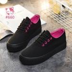รองเท้าผ้าใบแฟชั่น ทรงแพลตฟอร์ม ดีไซน์สวยชิค ตัดสีทูโทนสดใสด้านนอก-ใน สวยเก๋น่ารัก เสริมพื้น 3 ซม. ใส่สบาย แมทเก๋ ๆ ได้ทุกชุด