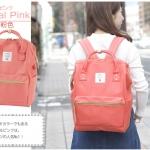 กระเป๋าเป้ Anello coral pink (Standard) ผ้าโพลีเอสเตอร์แคนวาส กันน้ำ