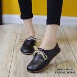 รองเท้าคัทชู หนังนิ่ม เรียบเก๋น่ารัก แต่งเชือกผูก ใส่สบาย แมทได้ทุกชุด ทุกโอกาส สีดำ ตาล ขาว