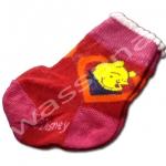 ถุงเท้า สีแดง-ชมพู ลาย Pooh กับหัวใจ 8CM