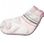 ถุงเท้า สีชมพู-ขาว-เทา ลายขวาง 9CM