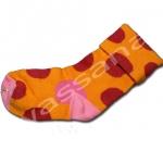 ถุงเท้า สีส้ม-แดง-ชมพู ลายจุด 12CM