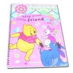 สมุดวาดเขียนสันห่วงใหญ่ สีชมพู ลาย Pooh Keep Warm Little Friends