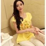 พรีออเดอร์ เสื้อชีฟองพิมพ์ลายแฟชั่นเกาหลี คอกลม สีเหลือง แขนสั้น - Preorder Women Korean Hitz Short-sleeved Female T-Shirt