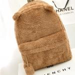 กระเป๋าเป้แฟชั่น สุดน่ารัก บุผ้าเฟอร์ ขนนิ่ม แต่งหูเก๋ๆ สะพายหลังใบใหญ่ จุเยอะ ขนาด 12×32×41 cm. สีน้ำตาลเข้ม