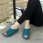 """รองเท้าแฟชั่น สวม ส้นเตารีด สไตล์เรียบหรูคาดหน้าใหญ่ ยืดหยุ่นดี เก็บหน้าเท้า ใส่สบายมาก พื้นนิ่มบุนวม สูง 2.5"""""""