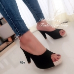 รองเท้าส้นสูง แบบสวมวัสดุหนังพียูคุณภาพดี ส้นสูง 3.5 นิ้ว ดีไซน์เรียบง่าย สไตล์มินิมอล แมทซ์กับชุดไหนก็มีความสวยชิค