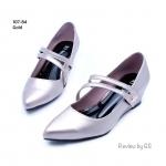 รองเท้าคัทชู งานหนังพียูนิ่ม ดีไซส์ทรงหัวแหลม เรียบเก๋ ส้นสูง 2 นิ้ว กำลังพอดี เพิ่มสายคาดติดอะไล่จรเข้ ใส่ได้ทุกโอกาส สีดำ ตาล เทา ทอง