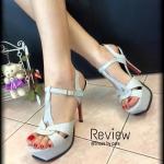 """รองเท้าส้นสูง แบบรัดส้น สวยเปรี้ยวสไตล์แบรนด์ ใส่แล้วดูเพรียวมากๆ ด้วย ความสูง 5"""" หน้าสูง 1.5"""" เดินง่าย ไม่เมื่อยเท้า จะใส่ออกงานหรือใส่เที่ยวคู่ เดียวสวยเริ่ด"""
