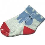 ถุงเท้า สีเทา-น้ำเงิน-แดง ลายกวางตาสีดำ 9CM