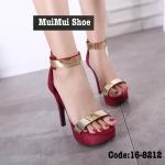 รองเท้าแฟชั่นส้นสูง เรียบหรู หนังสวยนิ่ม แต่งอะไหล่ทองเหลืองดูหรู เสริมส้นหน้า 1.5 นิ้ว ส้นสูง 5 นิ้ว ซิปหลังใส่ง่าย ใส่สวยไฮโซ