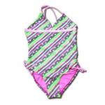 ชุดว่ายน้ำ สีชมพู-เขียว ลายหัวใจ 6T
