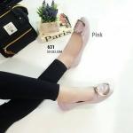 รองเท้าคัทชู หนังนิ่มมาก ขอบยืด พื้นพับได้ สไตล์บัลเล่ห์ หน้าอะไหล่เข็มขัดเก๋ ใส่สบายมาก สูง 1 cm