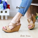 รองเท้าแฟชั่น สวมรัดส้น ด้านหน้าดีไซน์สวยเก๋ สายรัดส้นแบบเข็มขัดปรับ ระดับได้ ส้นเตารีดสูง 3 นิ้ว เสริมหน้า ใส่สบาย