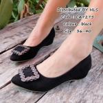 """รองเท้าแฟชั่น คัชชู เรียบหรูด้วยตัวรองเท้าบุกำมะหยี่ ตกแต่งโครเมียมสีรมดำ ส้นสูงประมาณ 1"""" ใส่สบายสวยทุกสไตล์"""