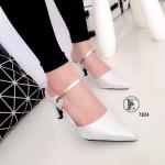 รองเท้าคัทชู เปิดส้น สวยเรียบหรู ส้นเข็ม วัสดุหนังกลิตเตอร์วิ้งๆ แต่งหนังเมทัลสี ทองคาดดูหรูหรา ส้นสูง 3 นิ้ว ใส่ไปเที่ยว ไปงาน ปาร์ตี้ สวยดูดีมีระดับ สีเงิน