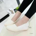 """รองเท้าคัชชู ส้นเตารีด หน้าลูกไม้วาเลนติโน่ ใส่สบาย หนังกำมะหยี่ งานนี้เย็บขอบ ใส่ทนสุดๆ เสริมส้นสไตล์เกาหลี สูง 2"""""""