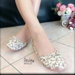 รองเท้าคัทชู ส้นแบน Vintage Flat Style ผ้าลายดอกไม้สวยหวานมีสไตล์ สวมสบาย น้ำหนักเบา จับแมทช์กับชุดได้ทุกแนว สีขาว ตาล