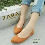 รองเท้าคัชชู ทรง flat รุ่นคลาสสิค style ZARA บุหนังกำมะหยี่ ทรงสวยเรียบหรู ใส่แล้วเท้าเรียว เก็บหน้าเท้า แมทง่ายเข้ากับทุกชุดทุกโอกาส
