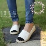 รองเท้าผ้าใบ style chanel canvas แบบขายดีตลอดกาล ไม่มีเอ้าท์ ใส่นิ่ม สบาย วัสดุเป็นแบบผ้าด้านหน้าเย็บติดตัว chanel พื้นถักปอด้านข้าง แมทเก๋ ทุกชุด