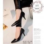 รองเท้าคัทชู สีดำ ส้นสูง แบบเรียบหรู คลาสสิค ทรงหัวแหลมสวย ดูเท้าเรียว หน้ง PU อย่างดี ใส่สวยดูดี แมทได้ทุกชุด ส้นสูง 6 cm
