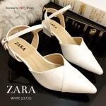 รองเท้าคัชชู STYLE ZARA ทรงหัวแหลมสวยเปรี้ยว เปิดส้น หนังลายดูหรู มีสไตล์ สายปรับได้ใส่แล้วกระชับเท้า พื่นตีแบรนด์ ZARA ทรงสวย ส้นสูง 2 นิ้ว สวยดูดีใส่สบาย