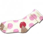 ถุงเท้า สีขาว-ชมพู-แดง ลายจุด 14CM