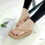 """รองเท้าแฟชั่น สไตล์ลำลอง แบบคีบ ส้นแต่งผ้าลูกไม้ สไตล์ญี่ปุ่น น้ำหนักเบา ใส่สบาย คีบไม่เจ็บเท้า หนัง pu งานสวย ขายดี สูง 2.5"""""""